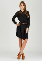 STYLE REPUBLIC - Peasant Midi Dress Black