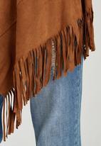 c(inch) - Longer Length Fringe Jacket Tan
