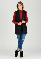 STYLE REPUBLIC - Double Breasted Sleeveless Coat Black