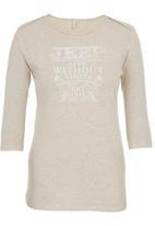 JEEP - 3/4 Sleeve Fashion Top Beige