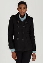 c(inch) - Saddle Stitch Double Breasted Coat Black
