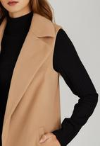 STYLE REPUBLIC - Melton Sleeveless Coat Camel