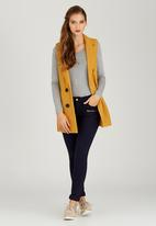 STYLE REPUBLIC - Double Breasted Sleeveless Coat Yellow