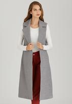 STYLE REPUBLIC - Melton Sleeveless Coat Grey