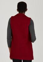 STYLE REPUBLIC - Double Breasted Sleeveless Coat Dark Red