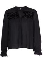STYLE REPUBLIC - Lace Inset Blouse Black