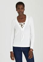 c(inch) - Tie Front Top Cream