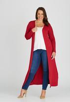 edit Plus - Maxi Length Cardigan Dark Red