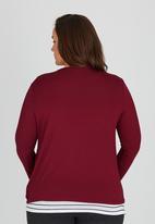 edit Plus - Drape Knit Top Dark Red