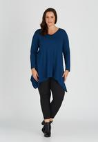 edit Plus - Long Sleeve Hanky Hem Tunic Mid Blue