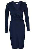 edit - Cross-over Gauged Dress Navy