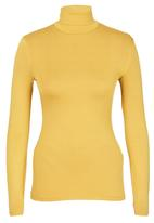 c(inch) - Long Sleeve Polo Neck Top Yellow