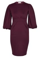 edit - Lantern Sleeve Dress Dark Red