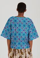 Black Velvet - Splash Print Boxy Sleeve Top Turquoise
