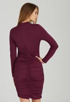 STYLE REPUBLIC - Gauged Knit Dress Dark Red