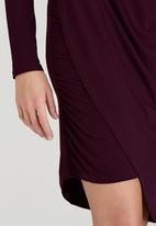 STYLE REPUBLIC - Asymmetrical Drape Dress Dark Purple