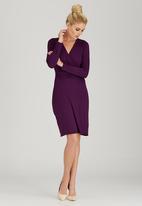 edit - Cross-over Gauged Dress Dark Purple