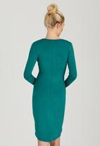 edit - Cross-over Gauged Dress Green