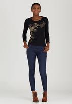 JEEP - Slub Printed Fashion Top Black