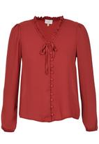edit - Covered Button Blouse Mid Brown