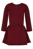 See-Saw - Textured Dress Dark Red