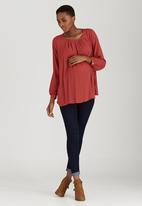 edit Maternity - Front Pleat Blouse Mid Brown