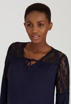 Cherry Melon - Lace Tunic Top Navy