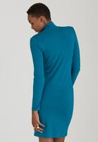 edit - Poloneck Knit Dress Turquoise