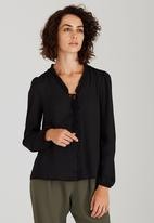 edit - Covered Button Blouse Black