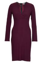ELIGERE - Fluttered Sleeve Bodycon Dress Dark Purple