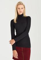 c(inch) - Long Sleeve Polo Neck Top Black