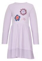 Just chillin - Flower Applique Dress Pale Purple