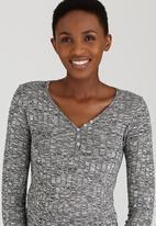 edit Maternity - Long Sleeve Henley T-shirt Dark Grey