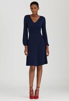 edit - Knit Fit & Flare Dress Navy