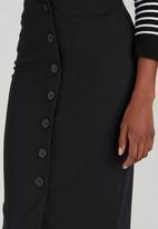 edit - Button Through Tube Skirt Black