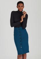 edit - Button Through Tube Skirt Turquoise