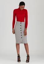 edit - Button Through Tube Skirt Grey Melange