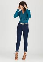 edit - Cowl Wrap Blouse Turquoise