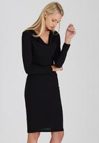 edit - Cowl Neck Slinky Dress Black