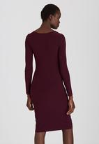 edit - Cowl Neck Slinky Dress Dark Purple