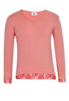 Rebel Republic - Henley Tee with lace Pale Pink