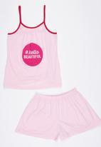 Rebel Republic - Printed Pyjama Set Pale Pink