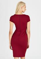 edit - Fitted Dress with Shaped Neckline Dark Red