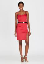 ELIGERE - Midi Cocktail Dress Dark Red