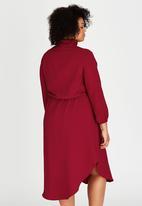 RUFF TUNG - Mandarin Shirt Dress Red