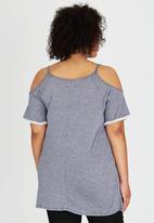 STYLE REPUBLIC PLUS - Cold Shoulder T-shirt Blue