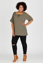 edit Plus - Cold Shoulder Tunic Khaki Green