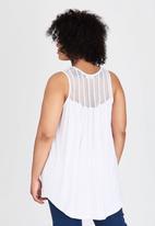 edit Plus - Lace Inset Tank Top White