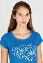 Russell Athletic - Washed Distressed Crew Neck Vintage Tee Mid Blue