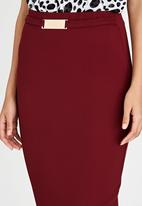 edit - Pencil Skirt with Buckle Detail Dark Red